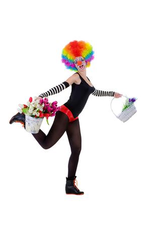 payaso: Payaso mantiene una cesta de flores y un cubo de tulipanes aislados sobre el fondo blanco