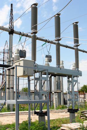 isolator insulator: High-voltage gas-insulated switch at the electric equipment substation