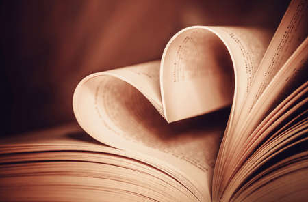 Heart book page and vintage effect style picture