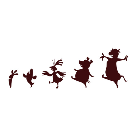 Animals Carrot Marching Dancing Silhouette