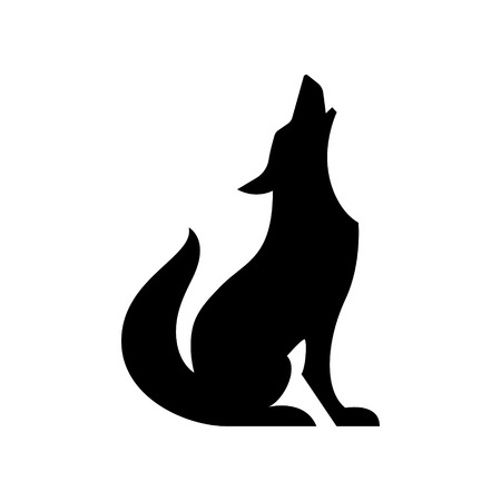 Howling coyote vector silhouette Illustration