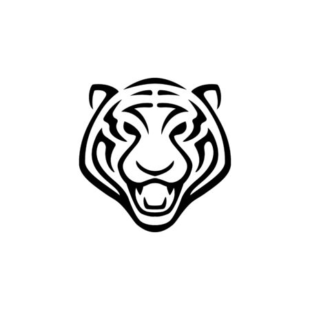 Simple Tiger Mascot Head Line Vector Illustration Zdjęcie Seryjne - 140164364