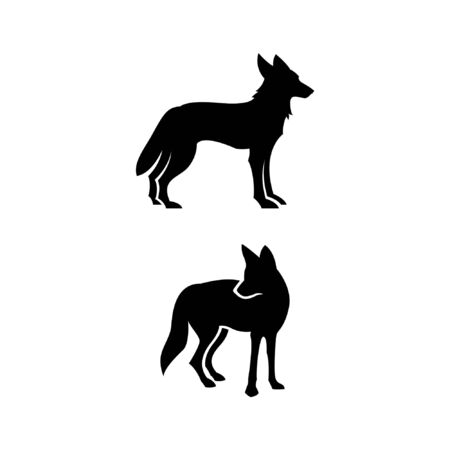 Coyotes alert stance with straight ears flat vector illustrations
