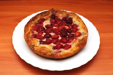 Pie with a strawberry Stock Photo