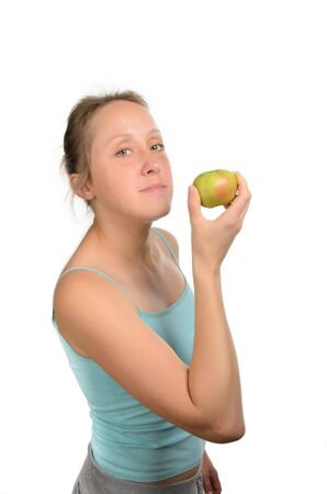 the girl with fruit fitness Stock Photo