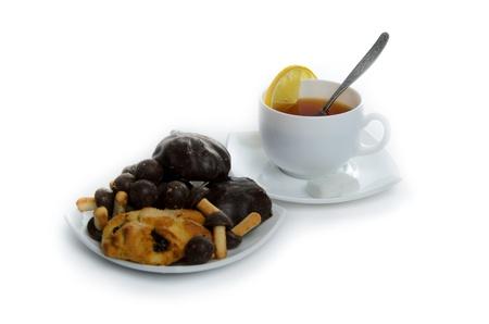 breakfast black tea with cookies Stock Photo