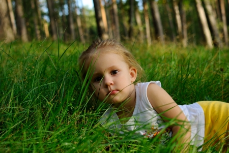 portrait of the child on a grass