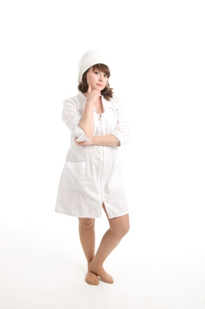 portrait of the nurse behind work