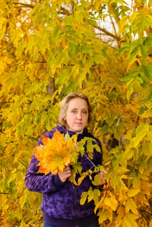 portrait of the woman autumn wood Stock Photo