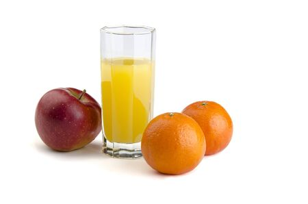 juice with fruit on a white background Stock Photo