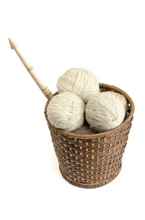 yarn hanks in a basket