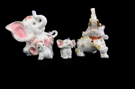 porcelain elephant on a black background Stock Photo