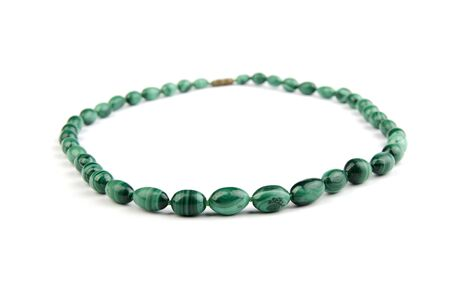 beads, necklace from malachite on white