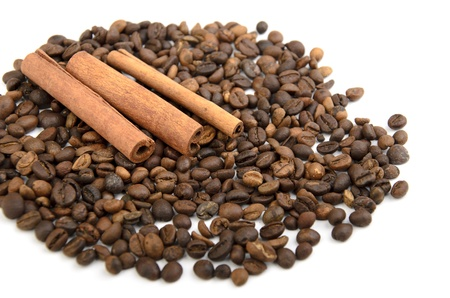 Coffee beans background isolated white