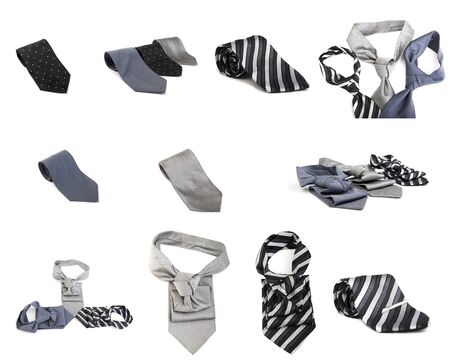 bright ties isolated on white Stock Photo