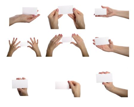 blanks: Collection of card blanks in a hand on white background