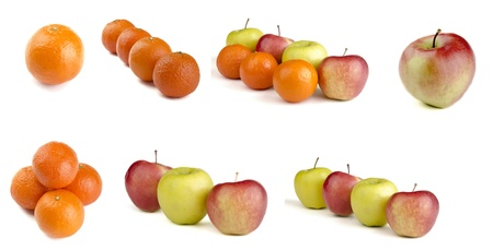 Family Fruit   mix fruit   fruits isolated on white background Stock Photo