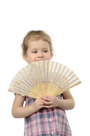 the girl with a fan in hands