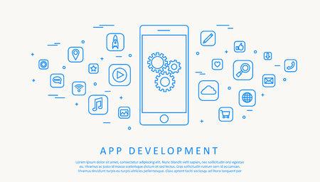 Illustartion of app development concept thin line design Vettoriali