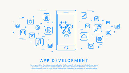 Illustartion of app development concept thin line design Ilustração