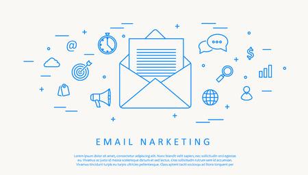 correo electronico: Illustartion de correo electrónico concepto infografía diseño de línea delgada
