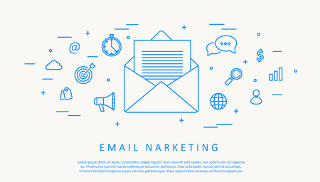 marketing concept: Illustartion of email infographic concept thin line design