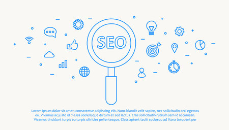 social network service: Illustartion of seo thin blue line design