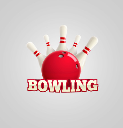 skittles: Illustartion of bowling realistic theme  Editable vector on white background