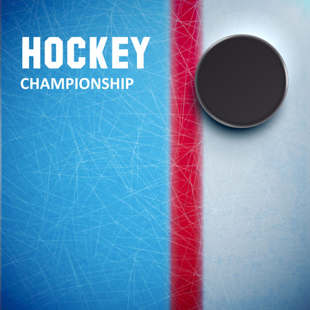 Illustartion of Hockey puck isolated on ice top view Ilustracja