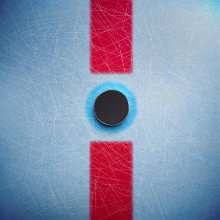 Illustartion di hockey puck isolato su ghiaccio vista dall'alto Archivio Fotografico - 48481790