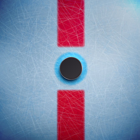 Illustartion of Hockey puck isolated on ice top view Ilustracja