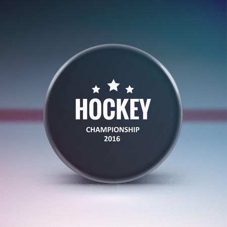Illustartion of Hockey puck isolated on ice