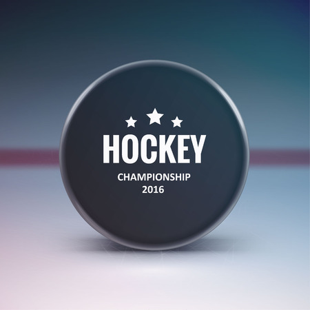 Illustartion of Hockey puck isolated on ice