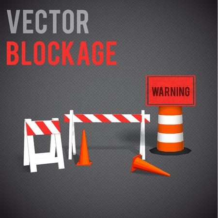 Illustartion of  blockage. Restrictions road signs warning