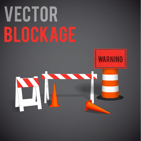 Illustartion of  blockage. Restrictions road signs warning