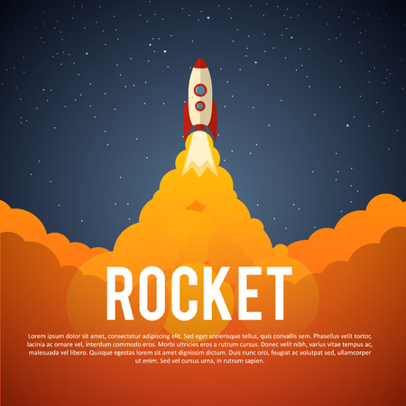 vintage ship: Illustartion of Rocket launch icon. Vector illustration eps 10 Illustration