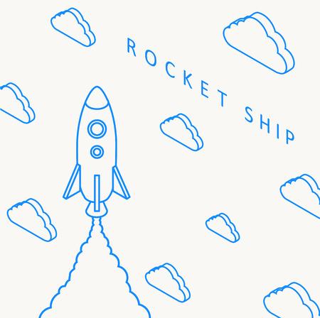 spaceship: Illustartion of Rocket launch icon. Vector illustration eps 10 Illustration