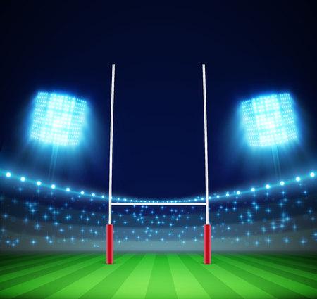 metas: Illustartion del estadio con las luces y de objetivo de rugby