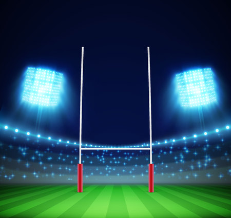 Illustartion of stadium with lights and rugby goal