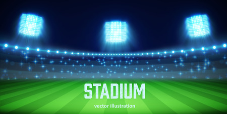 Illustartion of stadium with lights and tribunes  Vectores