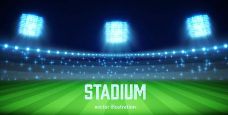 terrain foot: Illustartion du stade avec des lumières et des tribuns