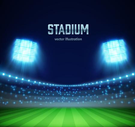 Illustartion of stadium with lights and tribunes   イラスト・ベクター素材