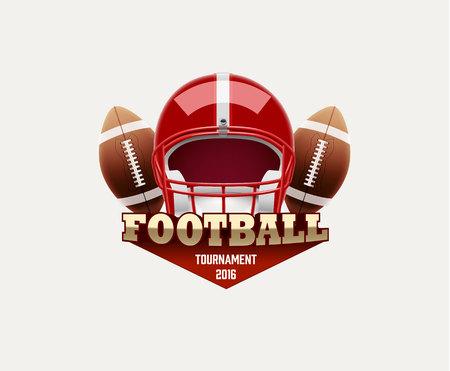 streichholz: Illustartion American Football lable mit realistischen Objekten