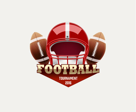 lable: Illustartion of american football lable with realistic objects