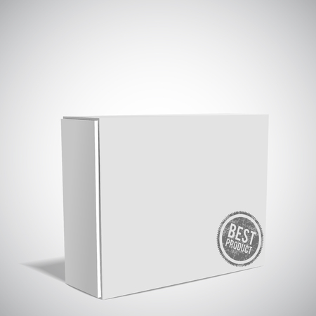 packaging box: Illustartion of Opened White Cardboard Package Box.