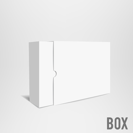 Illustartion of Opened White Cardboard Package Box.
