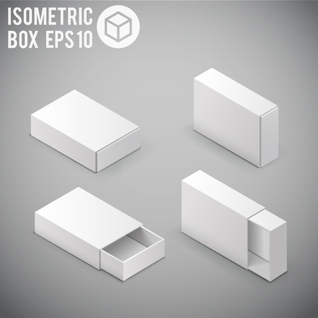 packaging template: Illustartion of Opened White Cardboard Package Box.