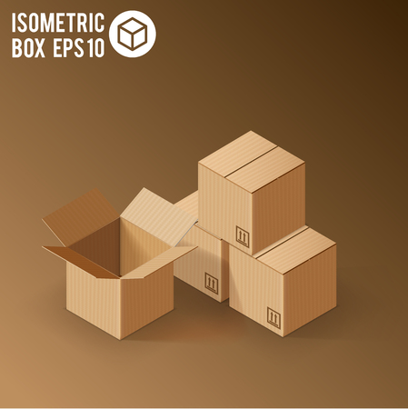 web template: Illustartion of Opened White Cardboard Package Box.