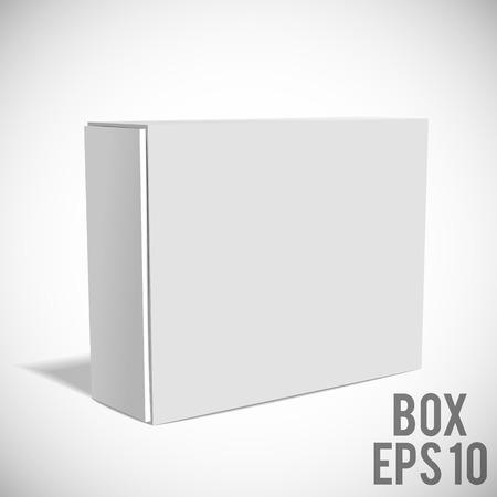 Illustartion of Opened White Cardboard Package Box.
