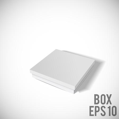 cd: Illustartion of Opened White Cardboard Package Box.